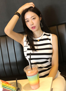 Summer Stripe Sleeveless Knit Tee, Styleonme